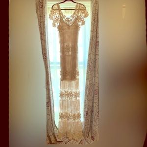 Arden B cream maxi macrame dress with lining!